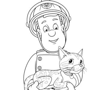 Strażak Sam ratuje kotka kolorowanki i szablony do druku dla dzieci MiastoDzieci.pl