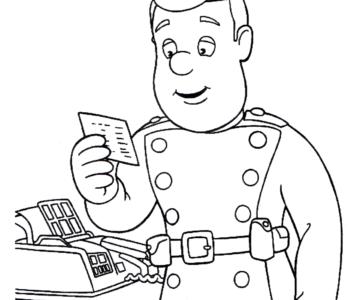 strażak Sam czyta wiadomość