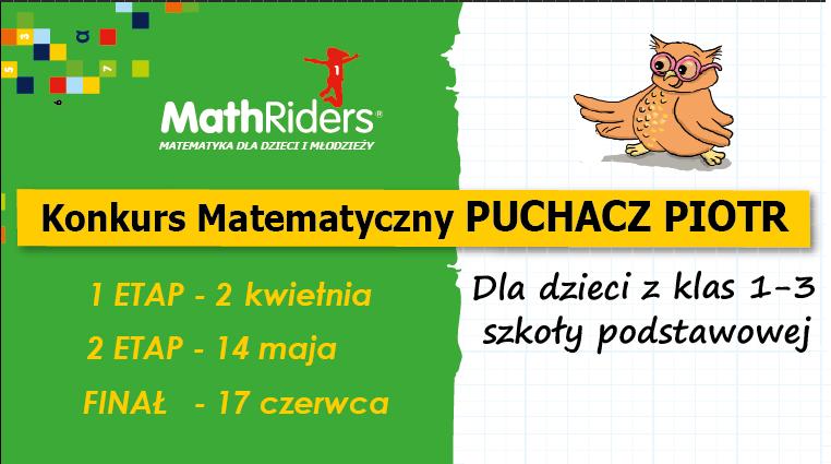 Puchacz Piotr już po raz IV zaprasza uczniów do bezpłatnego konkursu matematycznego