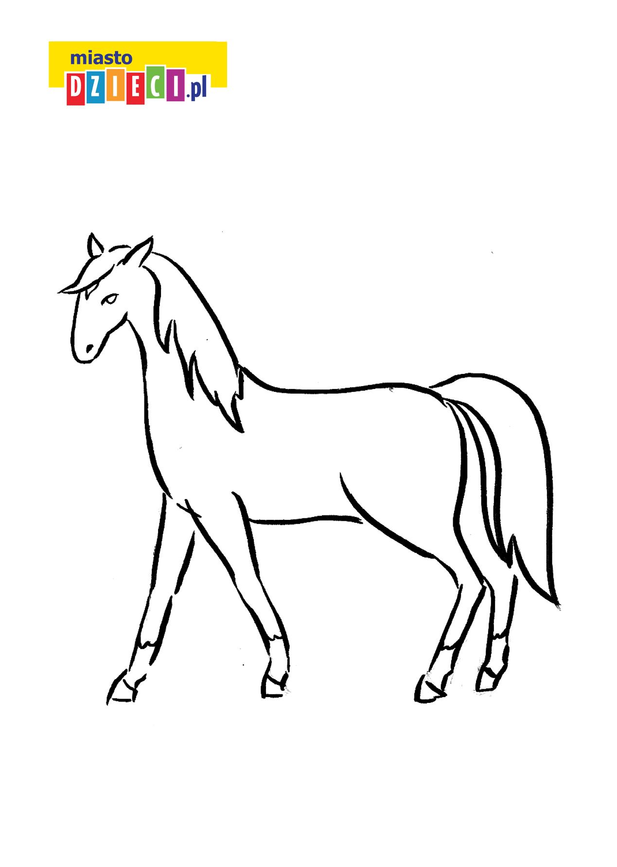 koń - kolorowanka kolorowanki i szablony do druku dla dzieci MiastoDzieci.pl