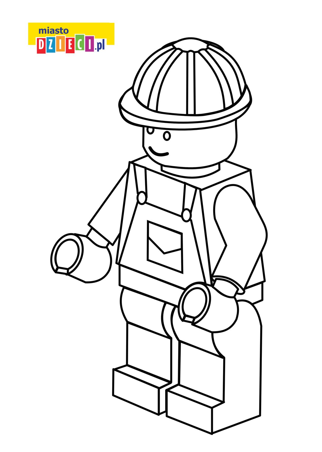 Ludzik Lego - kolorowanka kolorowanki i szablony do druku dla dzieci MiastoDzieci.pl