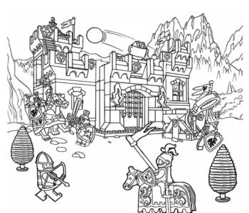 kolorowanka Lego - zamek kolorowanki i szablony do druku dla dzieci MiastoDzieci.pl