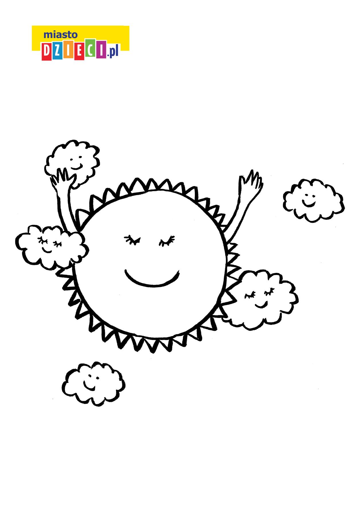 słońce - kolorowanka kolorowanki i szablony do druku dla dzieci MiastoDzieci.pl