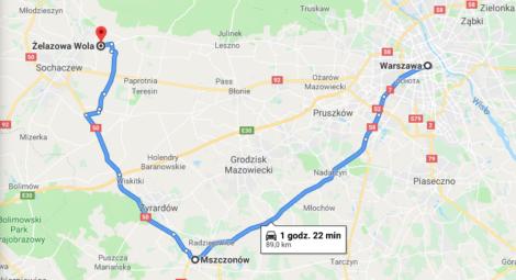 mapa tras wycieczki Warszawa-Mszczonów-Żelazowa Wola
