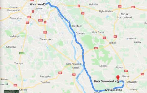 mapa wycieczka do Garwolina