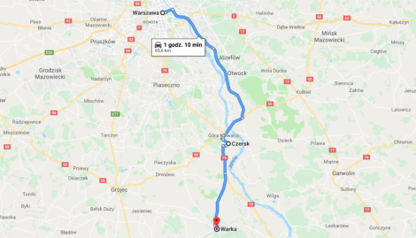 mapa wycieczka do Warki i Czerska