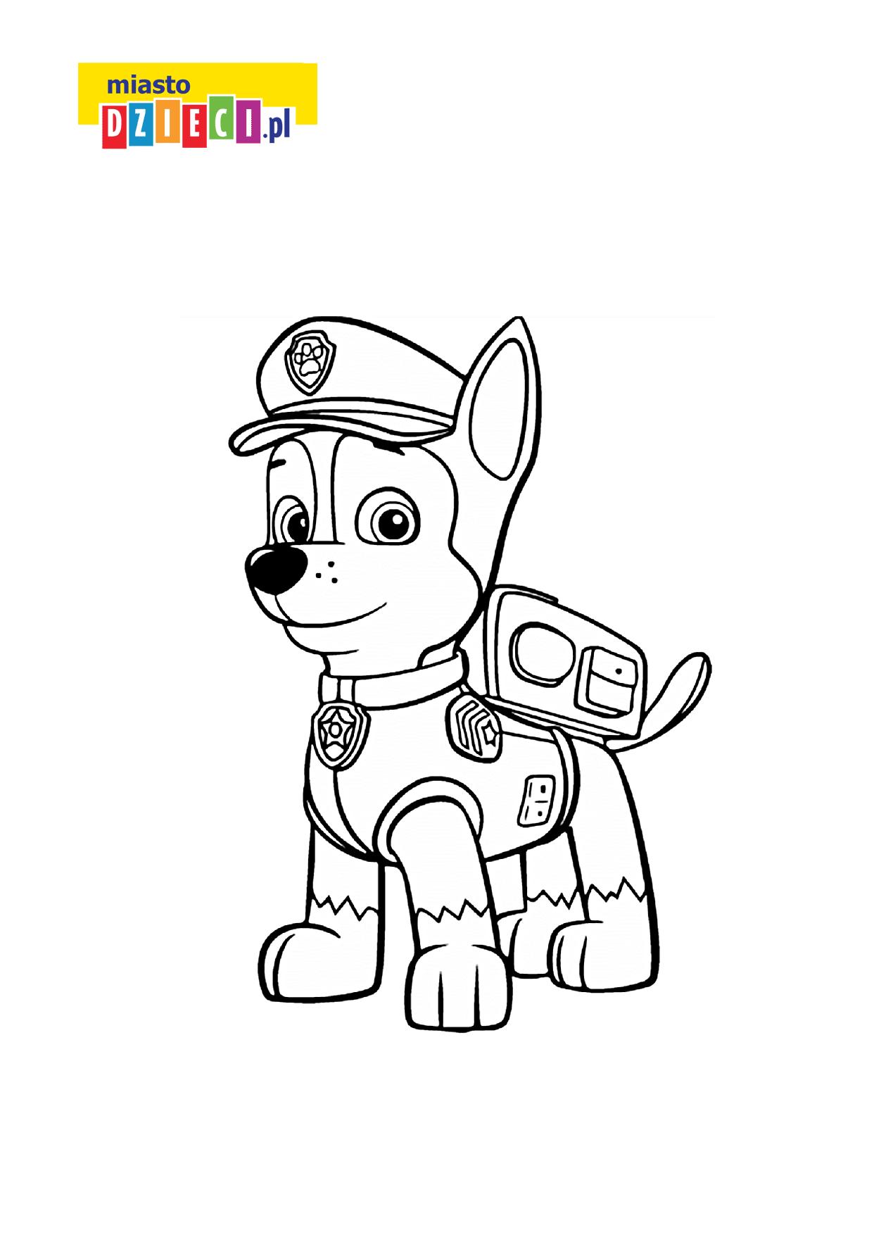 Chase Z Serialu Psi Patrol Bezpłatna Kolorowanka Do Druku Dla Dzieci