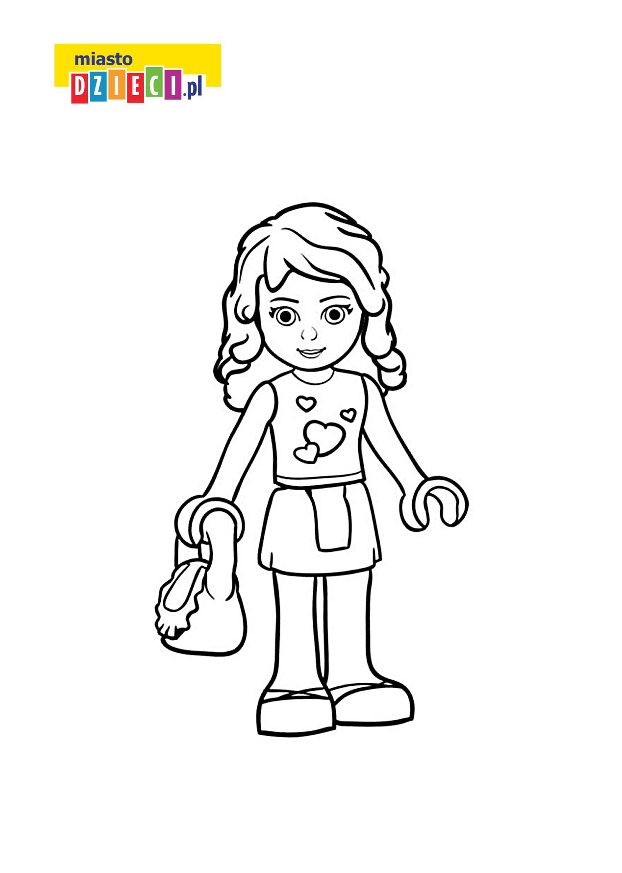 Olivia z Lego Friends - kolorowanka kolorowanki i szablony do druku dla dzieci MiastoDzieci.pl