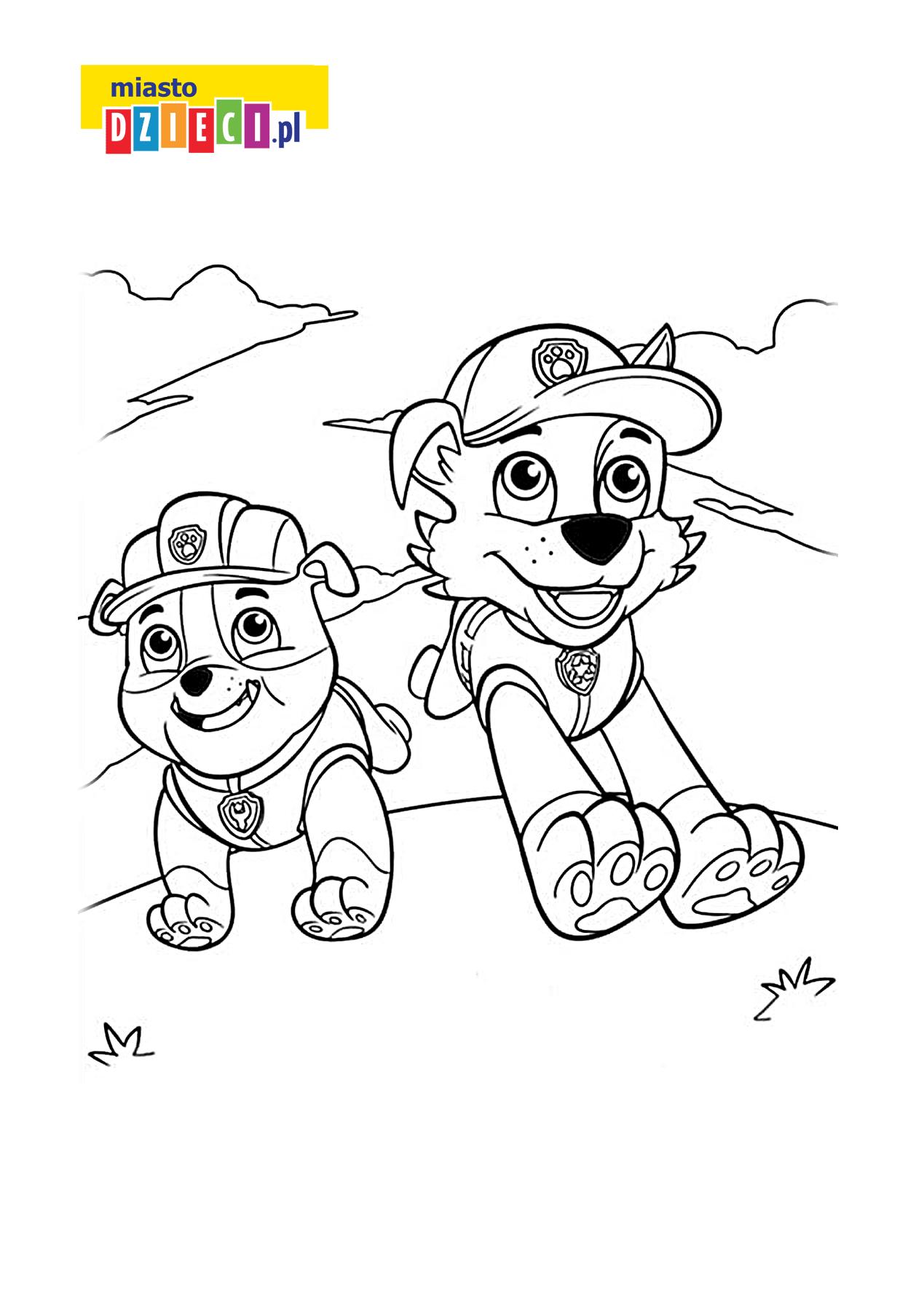 Rubble Z Serialu Psi Patrol Bezpłatna Kolorowanka Do Druku Dla Dzieci