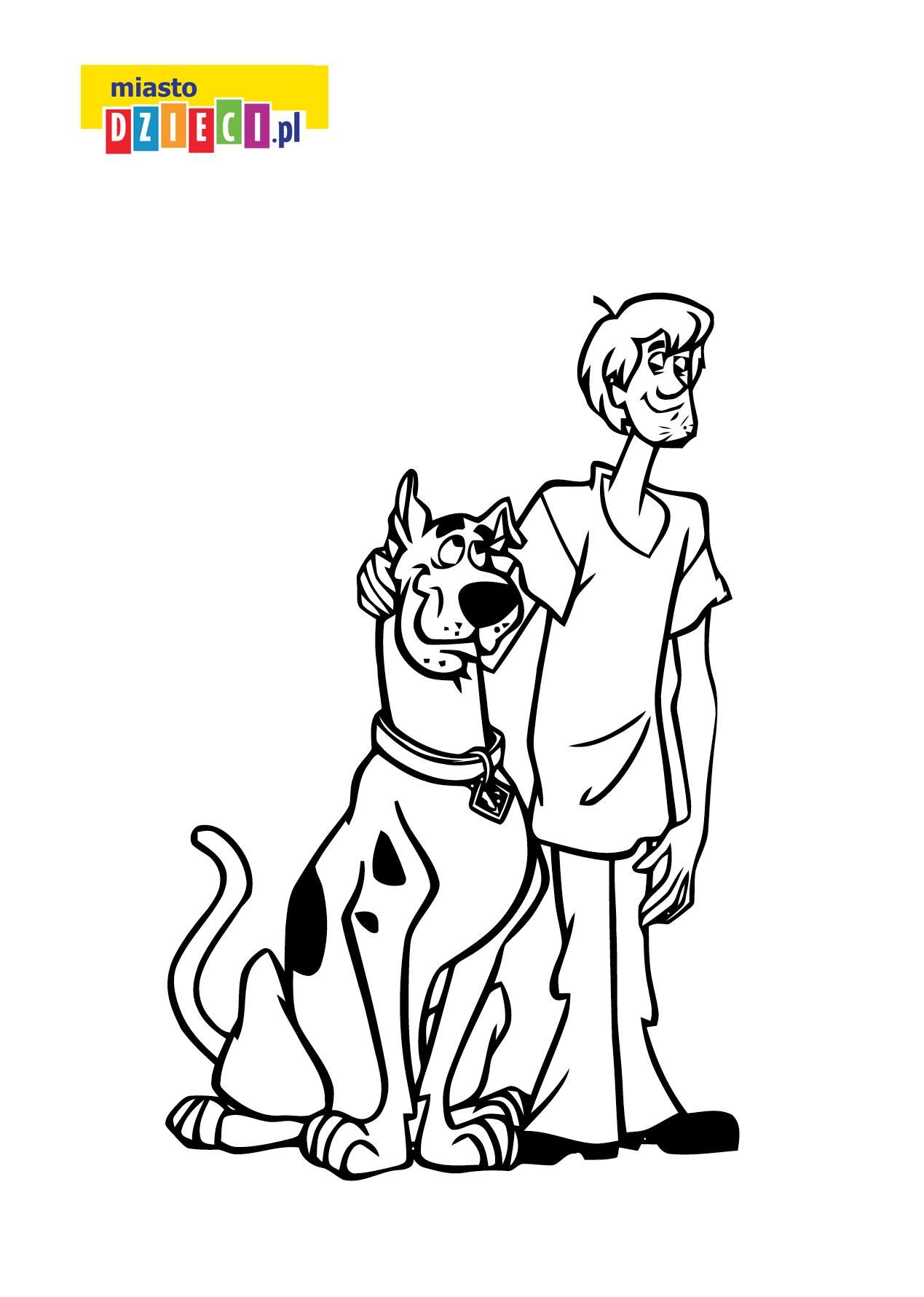 Scooby Doo- kolorowanki kolorowanki i szablony do druku dla dzieci MiastoDzieci.pl