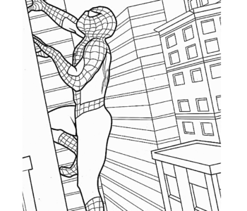 Spiderman wspina się na wieżowiec - kolorowanka kolorowanki i szablony do druku dla dzieci MiastoDzieci.pl