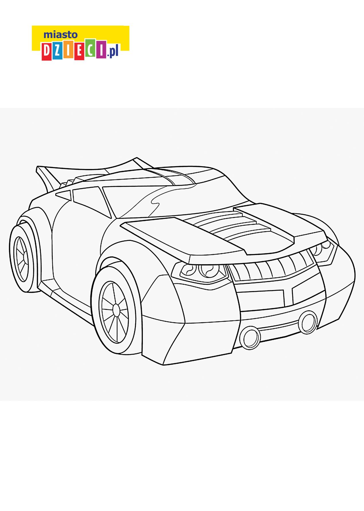 samochód transformers - kolorowanka kolorowanki i szablony do druku dla dzieci MiastoDzieci.pl