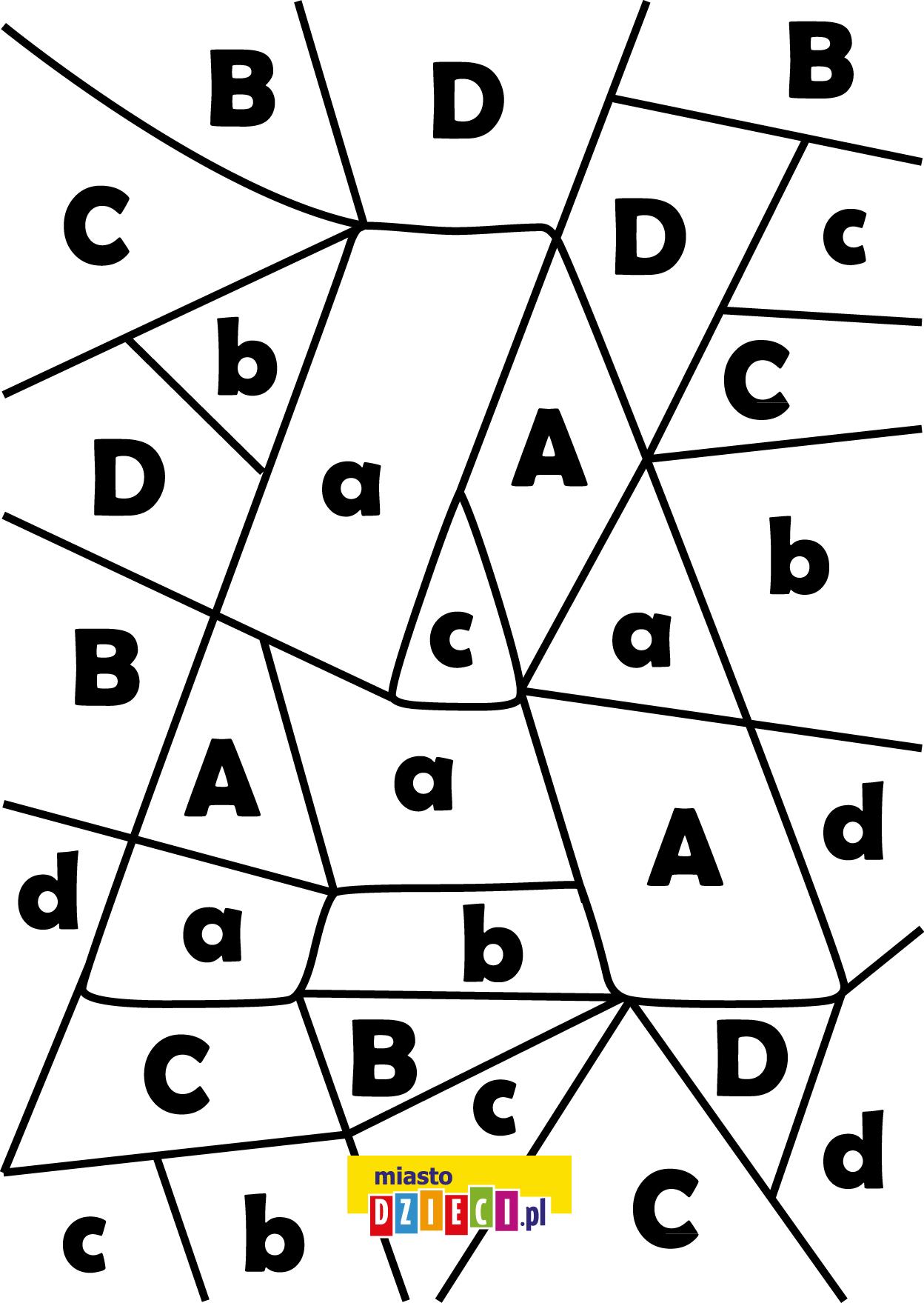 litera A - ukryte litery do nauki czytania kolorowanki i szablony do druku dla dzieci MiastoDzieci.pl