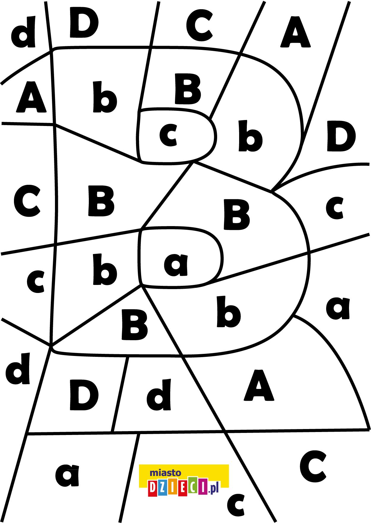 litera B - ukryte litery do nauki czytania kolorowanki i szablony do druku dla dzieci MiastoDzieci.pl