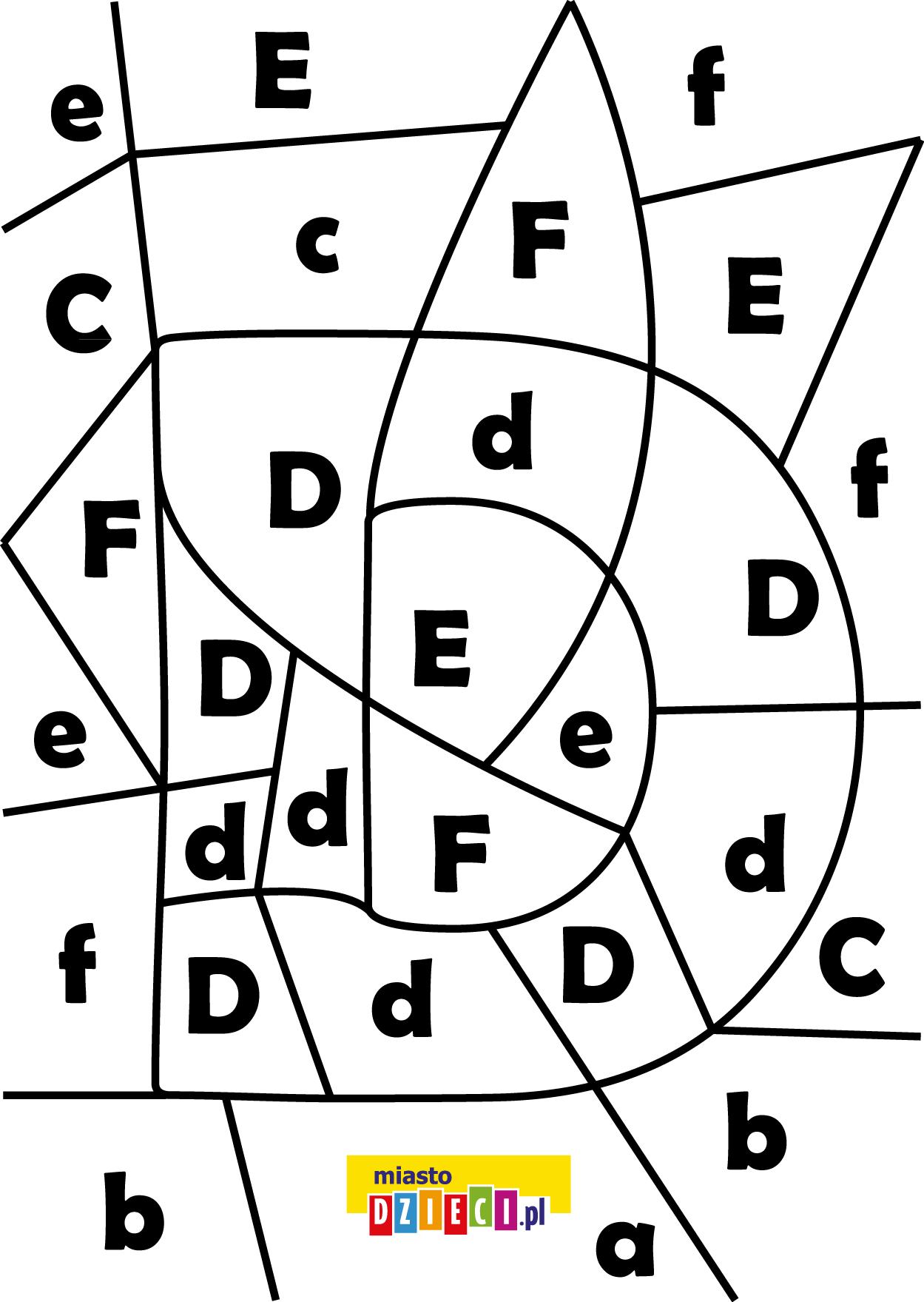 litera D - ukryte litery do nauki czytania kolorowanki i szablony do druku dla dzieci MiastoDzieci.pl