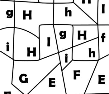 litera H - ukryte litery do nauki czytania kolorowanki i szablony do druku dla dzieci MiastoDzieci.pl