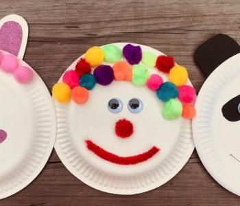 jednorożec, klaun i miś koala z papierowych talerzyków