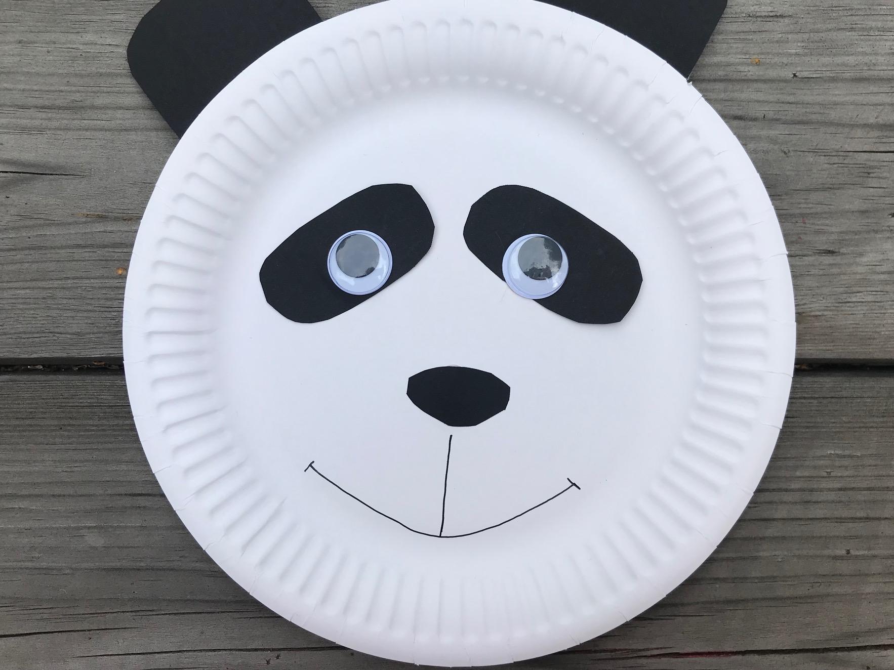 miś panda z talerzyka papierowego