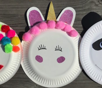 jednorożec, klaun, miś panda z talerzyków papierowych