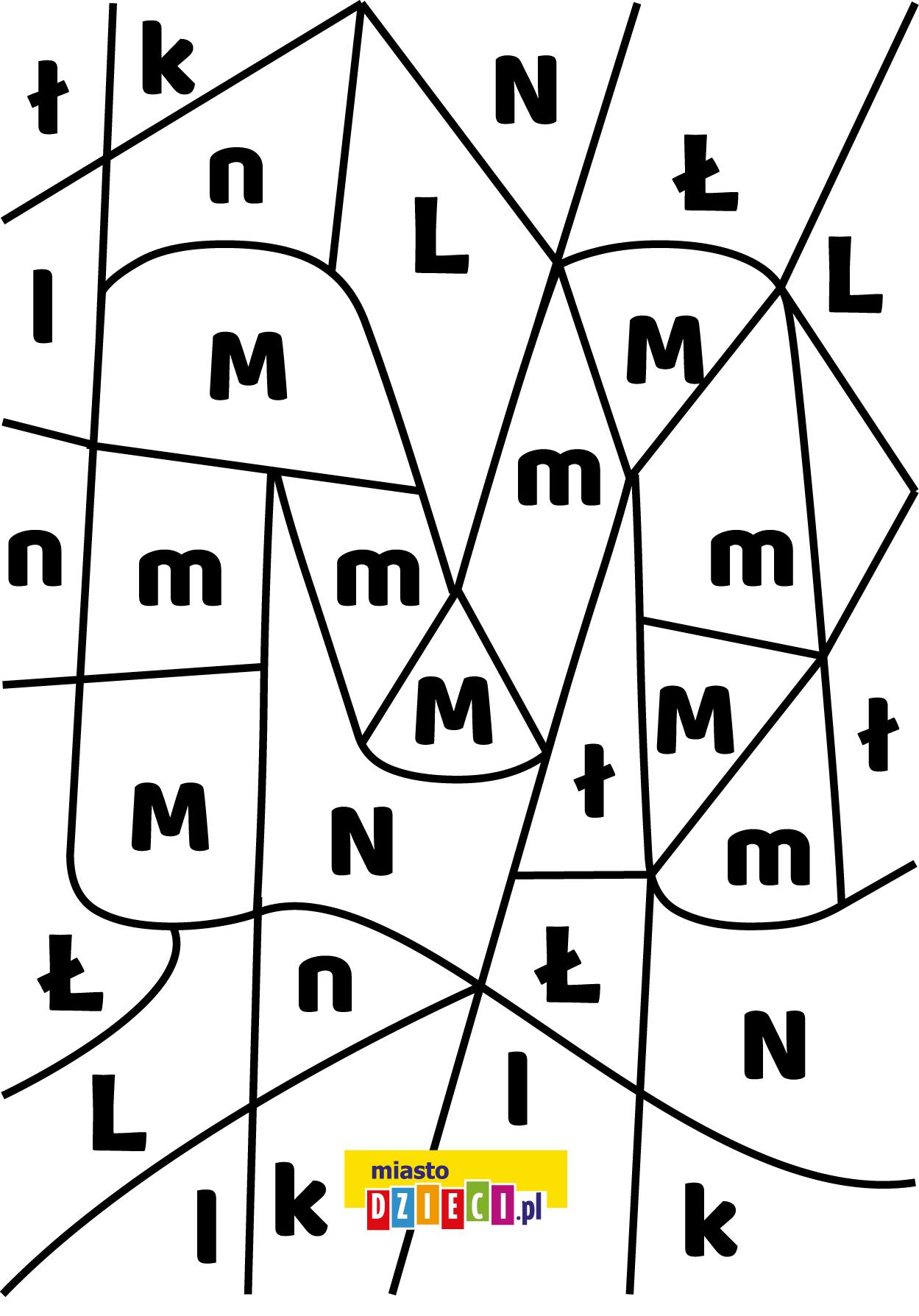 litera M - ukryte litery do nauki czytania kolorowanki i szablony do druku dla dzieci MiastoDzieci.pl