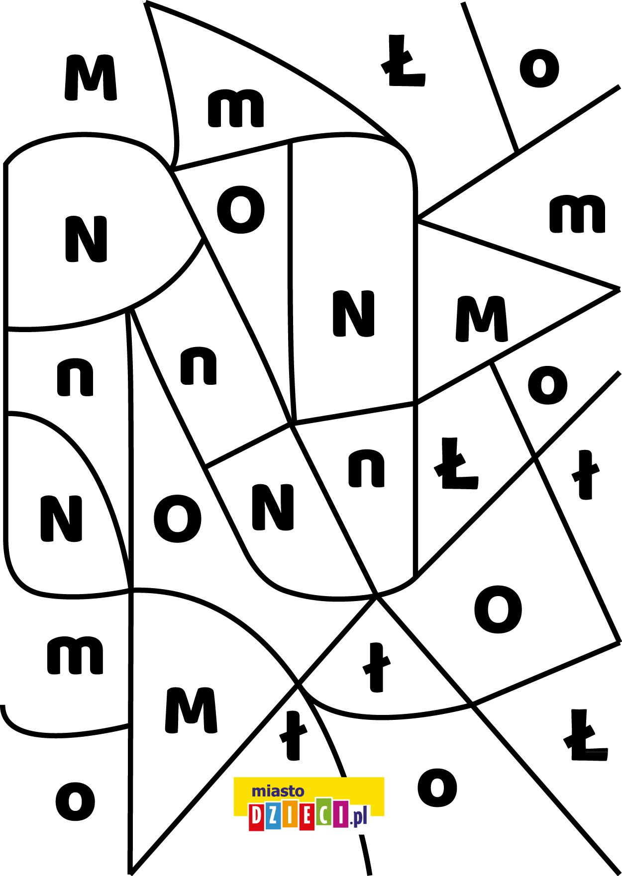 litera N - ukryte litery do nauki czytania kolorowanki i szablony do druku dla dzieci MiastoDzieci.pl