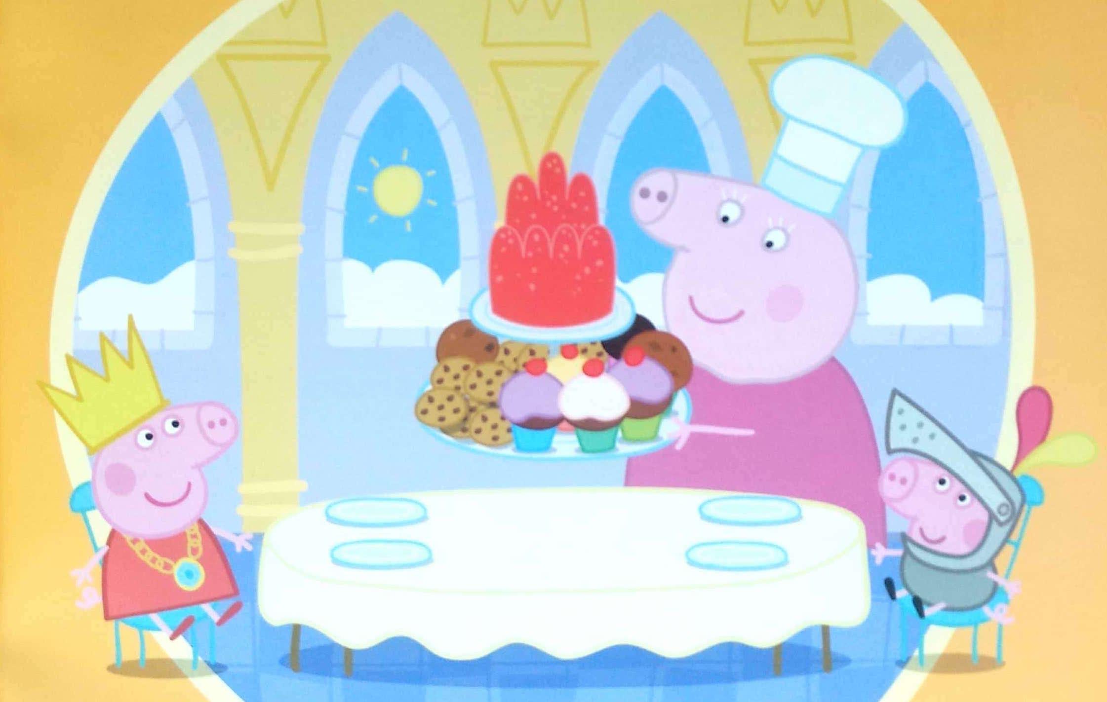 Świnka Peppa i kucharz z tortem