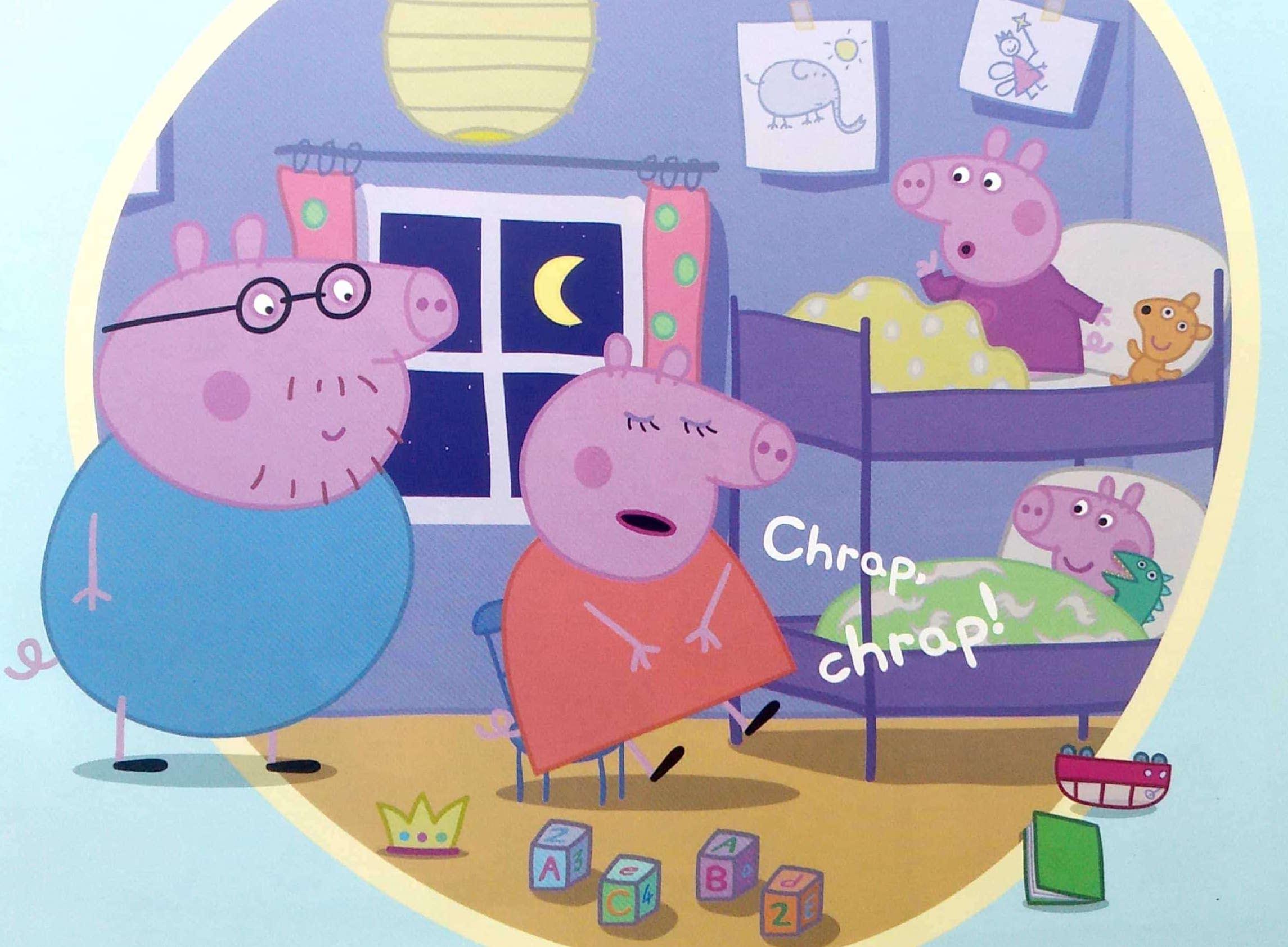 Mama świnka zasnęła przy słuchaniu bajki
