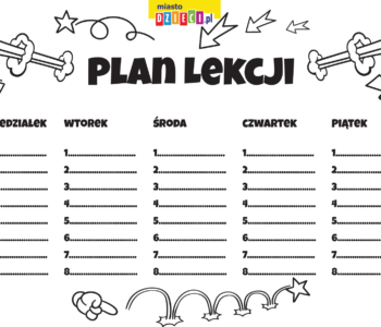 plan lekcji do kolorowania kolorowanki i szablony do druku dla dzieci MiastoDzieci.pl