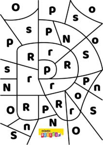 litera R - ukryte litery do nauki czytania kolorowanki i szablony do druku dla dzieci MiastoDzieci.pl