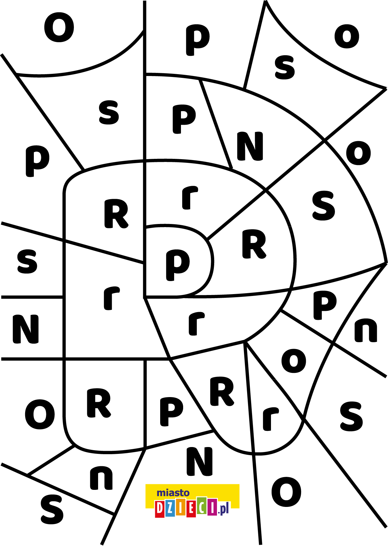 litera R - ukryte litery do nauki czytania