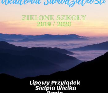 Zielone szkoły - rok szkolny 2019/2020