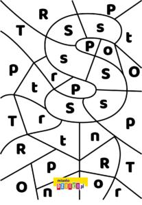 litera S - ukryte litery do nauki czytania kolorowanki i szablony do druku dla dzieci MiastoDzieci.pl