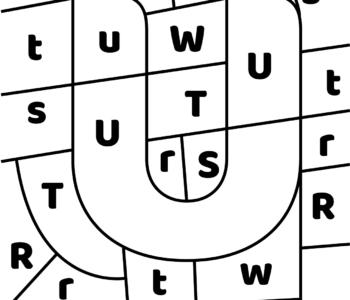 litera U - ukryte litery do nauki czytania kolorowanki i szablony do druku dla dzieci MiastoDzieci.pl