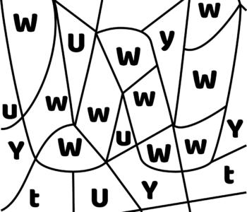 litera W - ukryte litery do nauki czytania kolorowanki i szablony do druku dla dzieci MiastoDzieci.pl