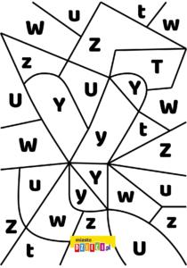 litera Y - ukryte litery do nauki czytania kolorowanki i szablony do druku dla dzieci MiastoDzieci.pl