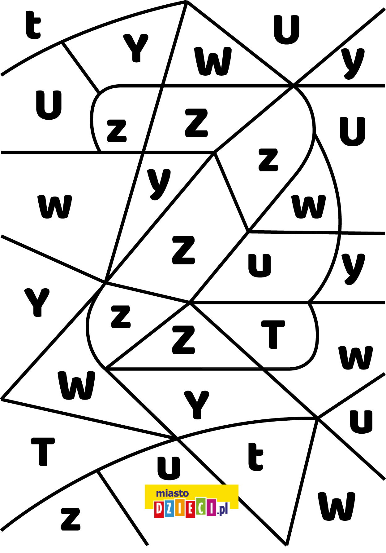 litera Z - ukryte litery do nauki czytania kolorowanki i szablony do druku dla dzieci MiastoDzieci.pl