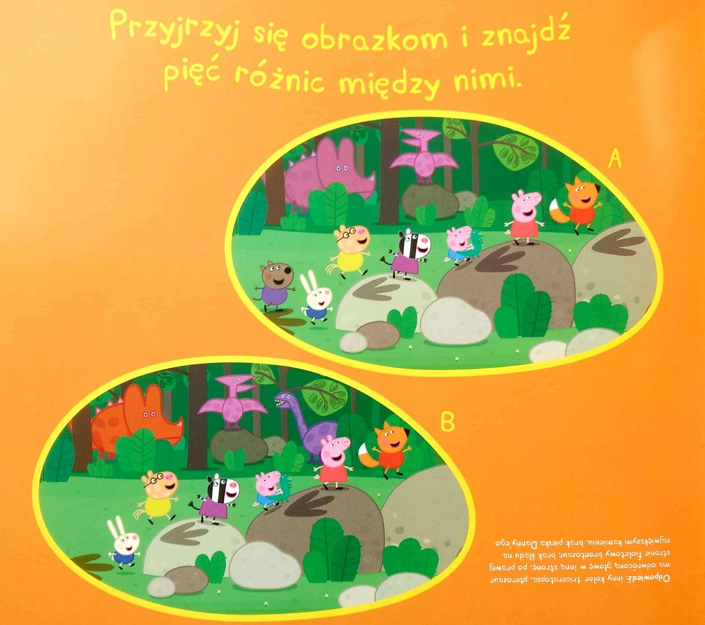 Łamigłówki dla dzieci znajdź różnice z Peppą