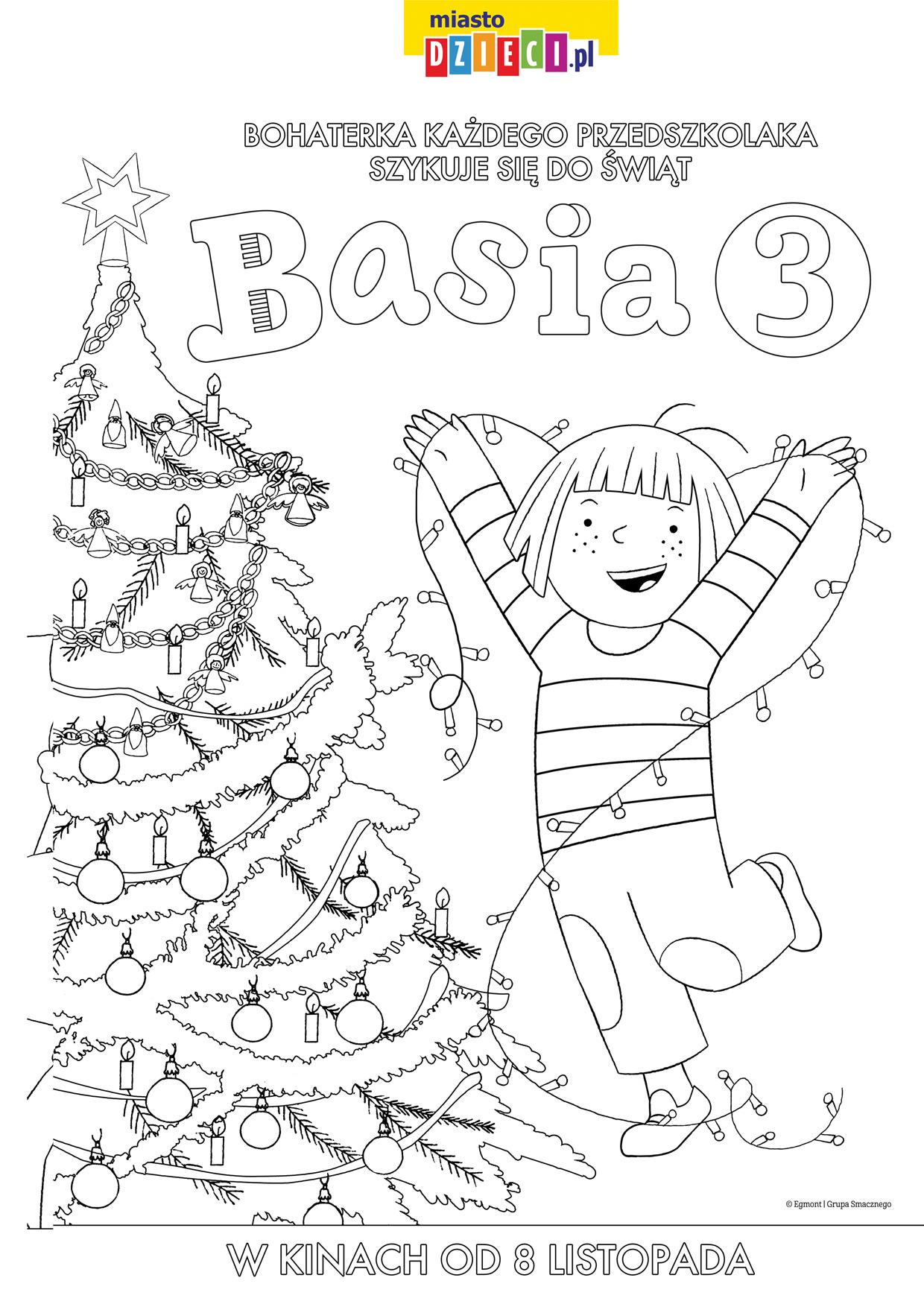 Basia szykuje się do świąt Bożego Narodzenia kolorowanki i szablony do druku dla dzieci MiastoDzieci.pl