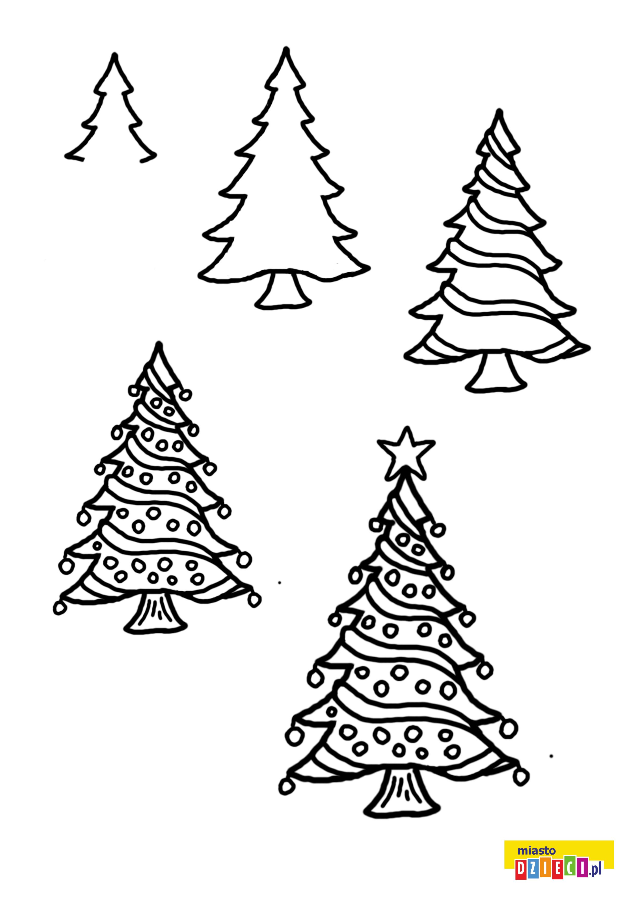 Jak narysować choinkę. Szablony dla dzieci do rysowania