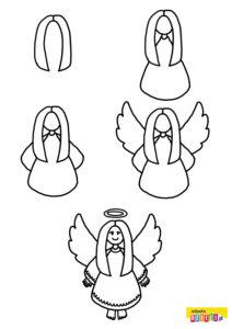 Jak narysować anioła szablony do rysowania do druku dla dzieci