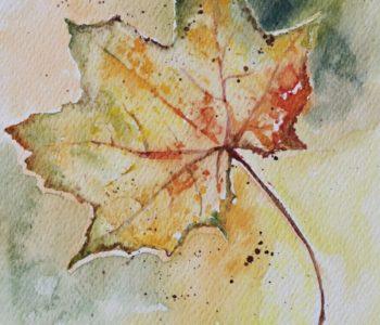Akwarela dla dzieci: Jesienny liść