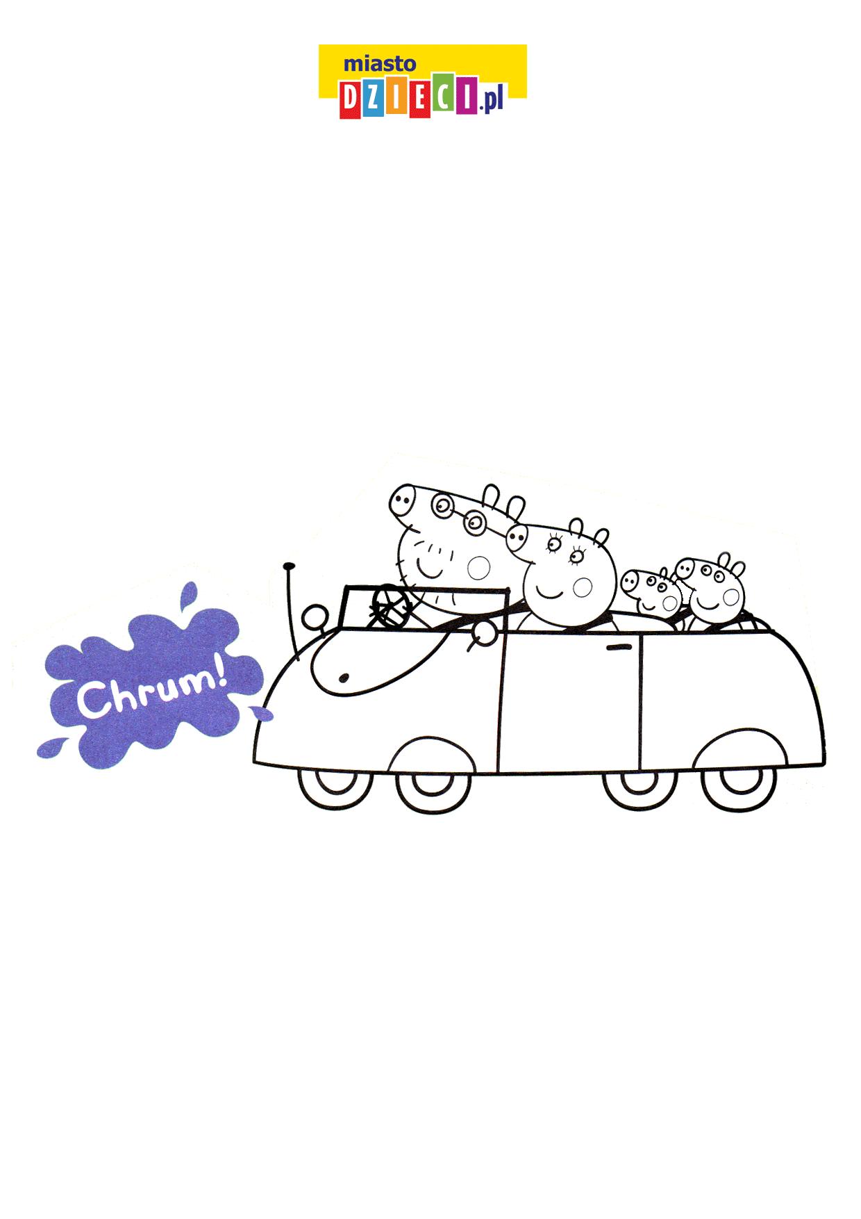 Auto Świnki Peppy kolorowanka do druku dla dzieci