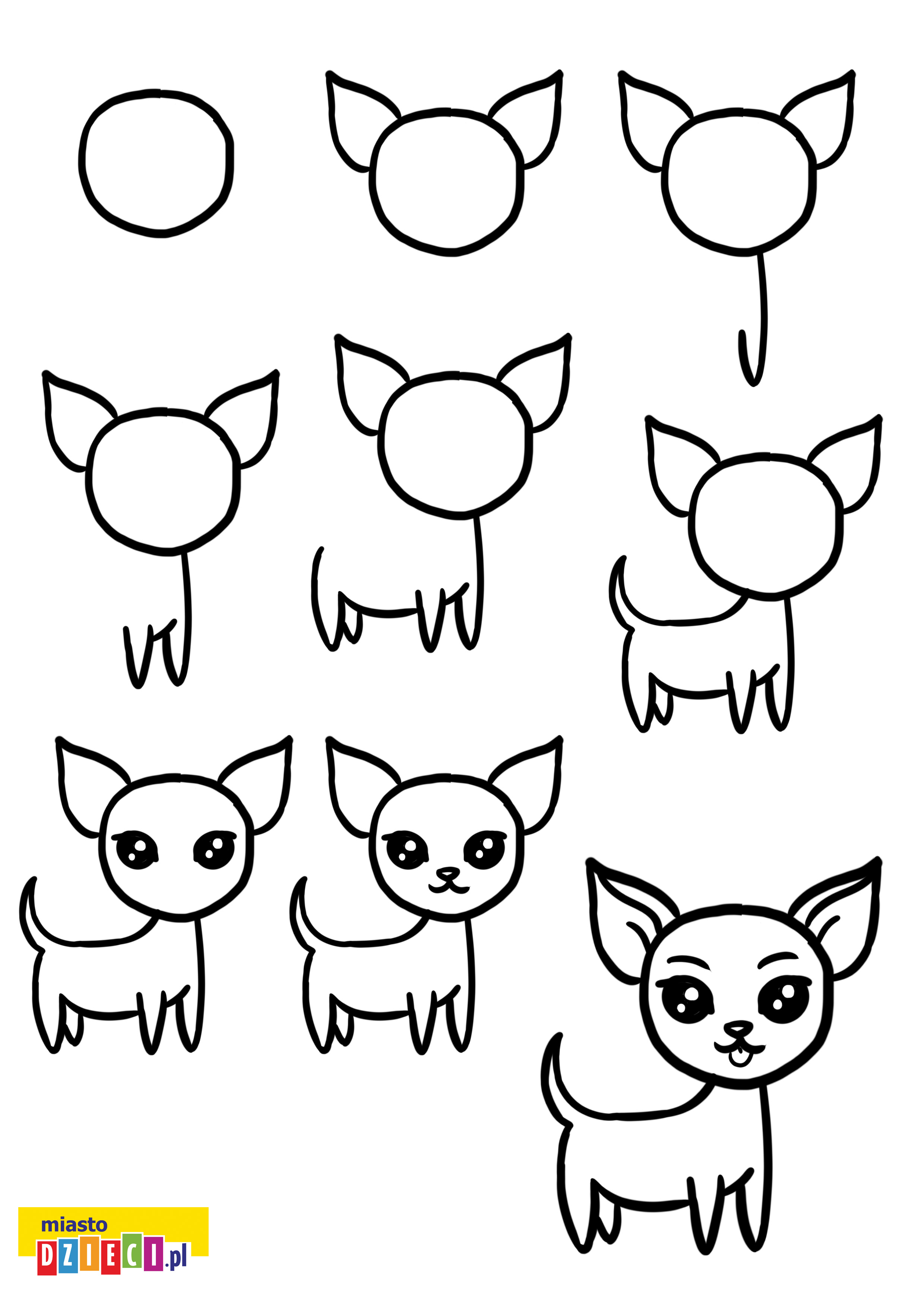 Jak narysować psa chihuahua szablony rysowania do druku dla dzieci