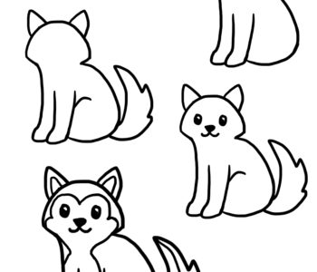 Jak narysować psa szczeniak husky szablony rysowania dla dzieci do druku