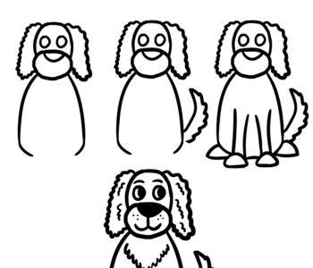 Jak narysować psa spaniel. Poradnik rysowania dla dzieci do druku