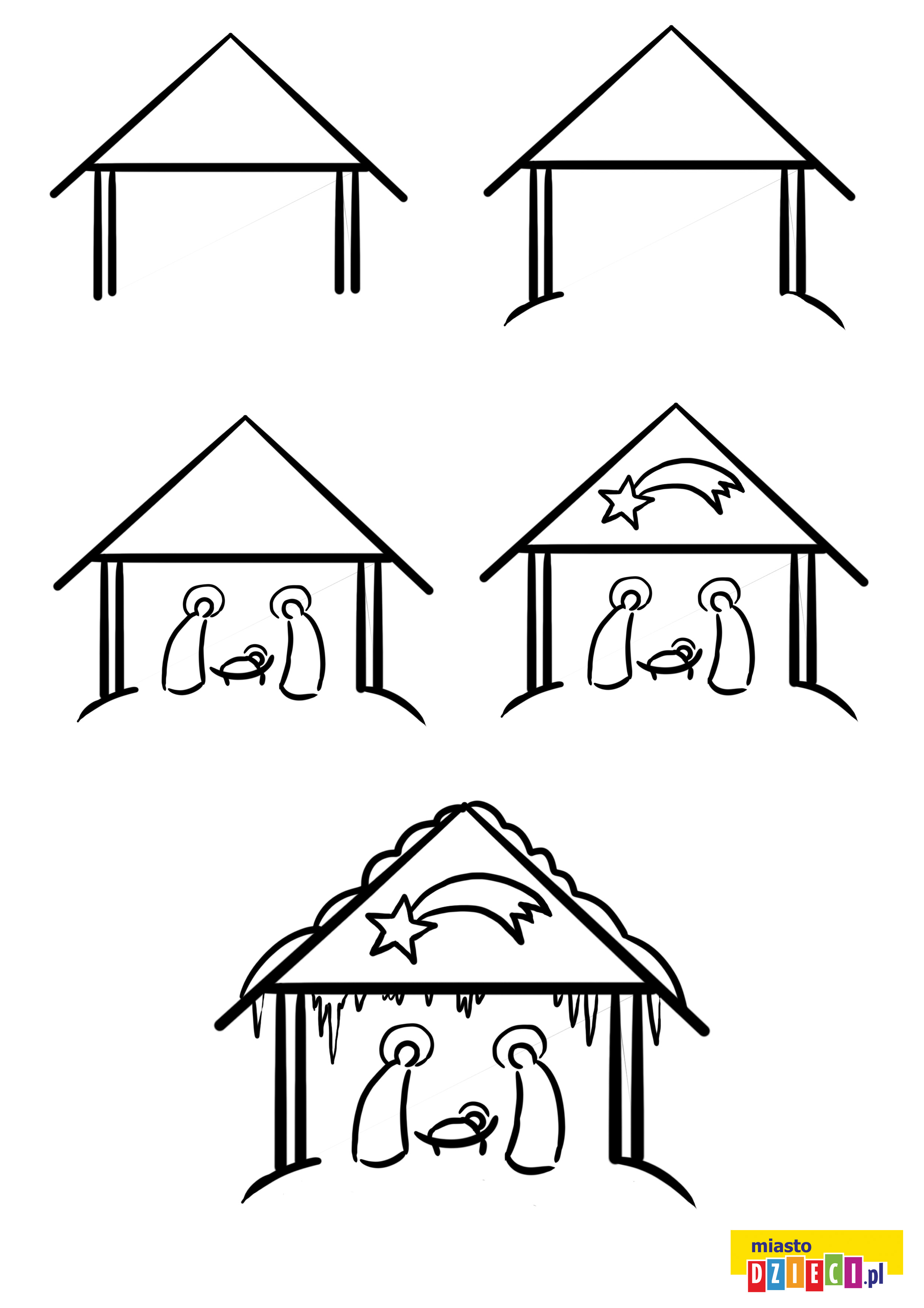 Jak narysować szopkę szablony rysowania dla dzieci do druku