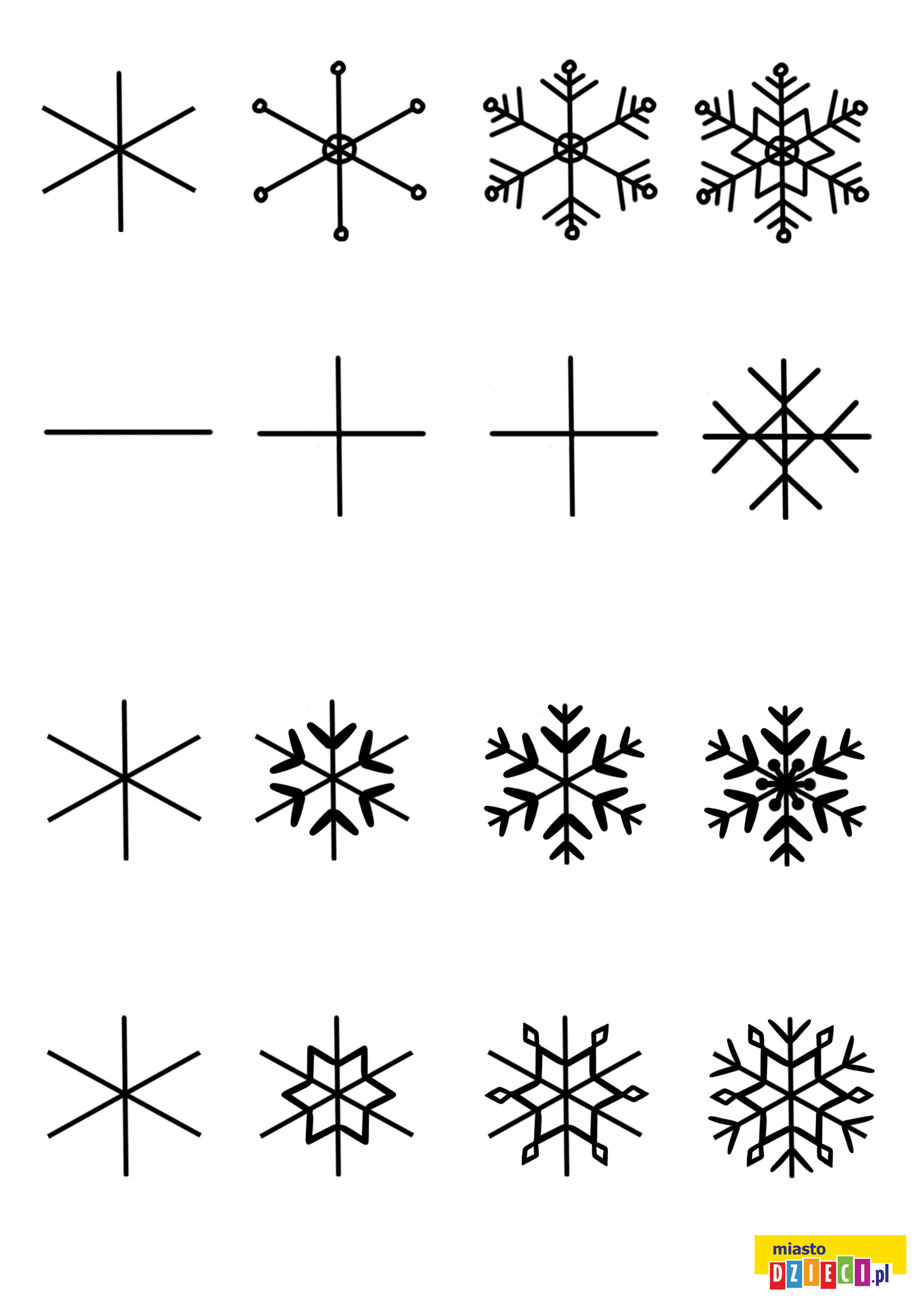 Jak narysować śnieżynkę, szablony do rysowania do druku