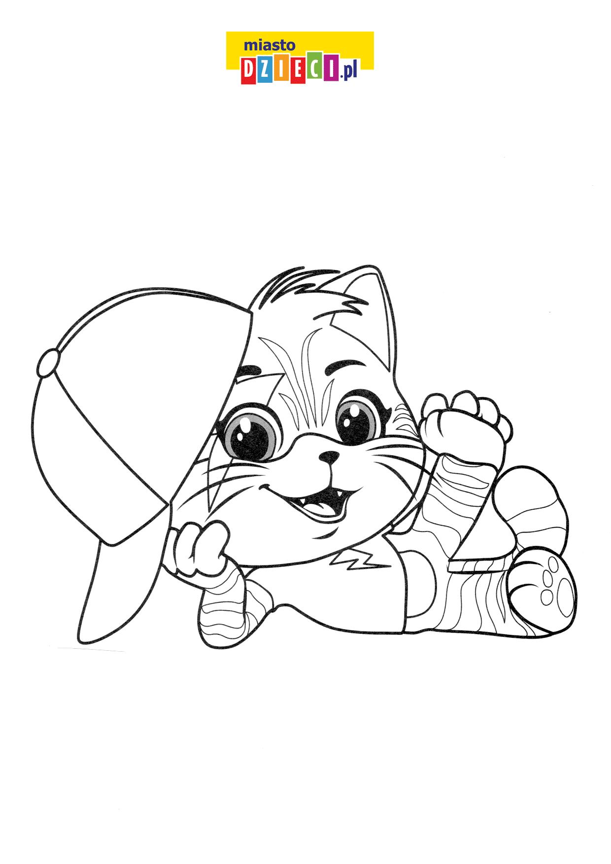 Kotek w czapce kolorowanka online do druku