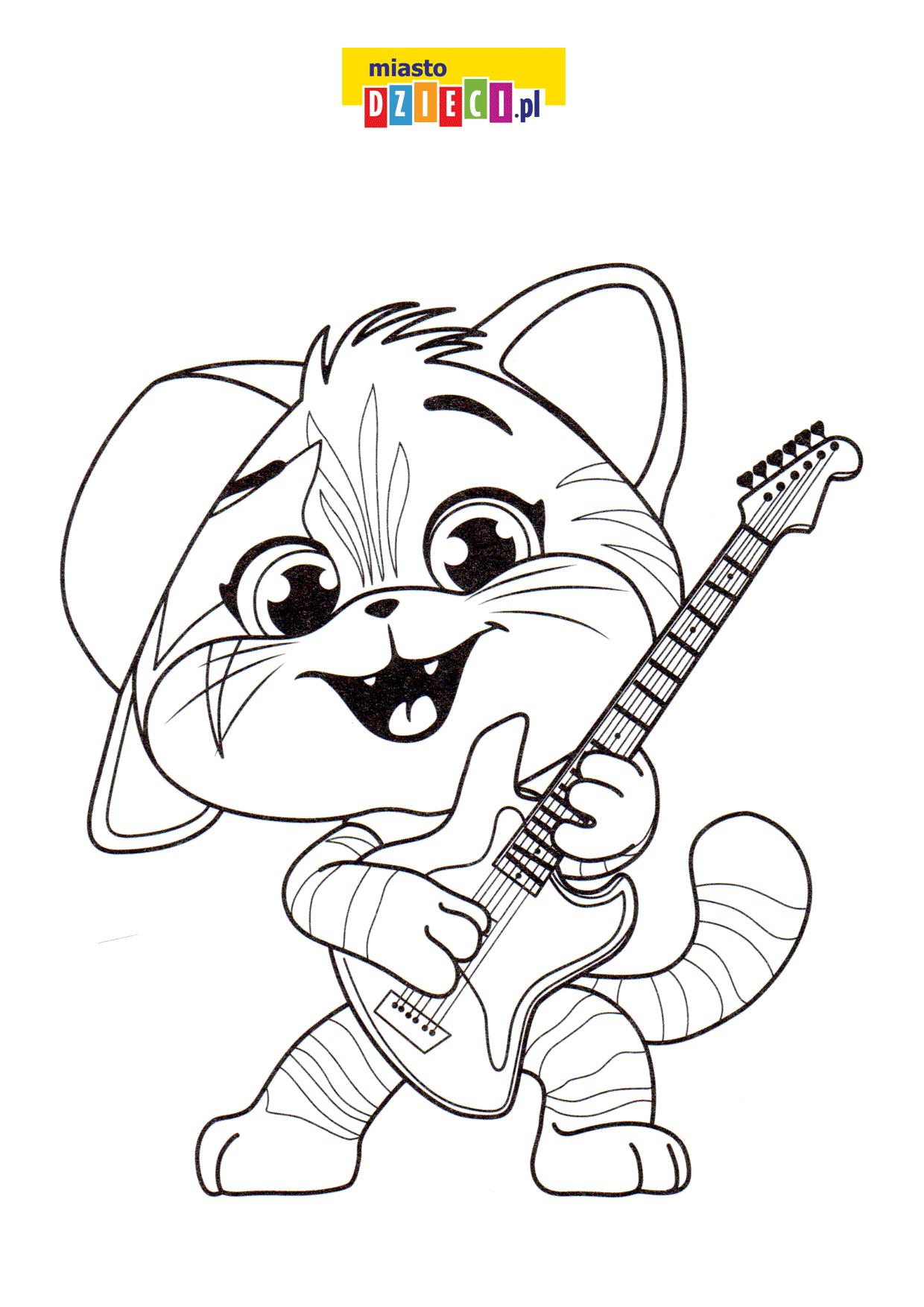 kotek z gitarą, kolorowanka dla dzieci do druku. Malowanki online ze zwierzętami