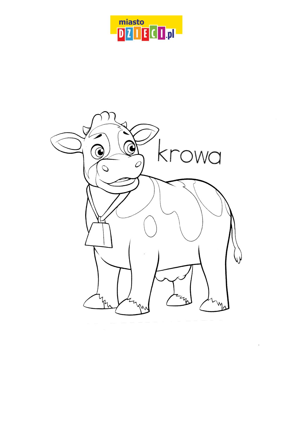 krowa - pisz po śladzie kolorowanka z krową do druku